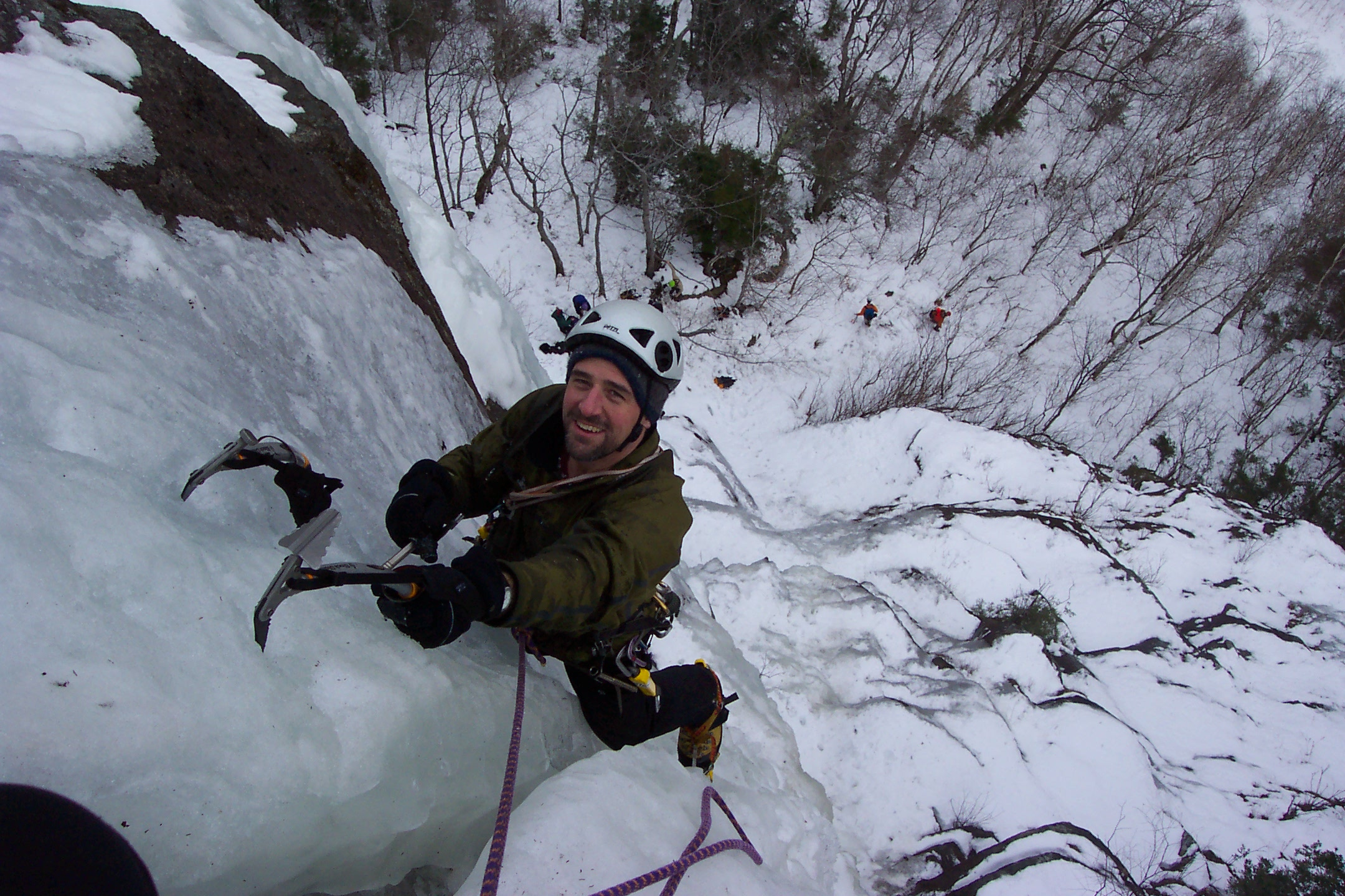 Dave climbing ice in New Hampshire