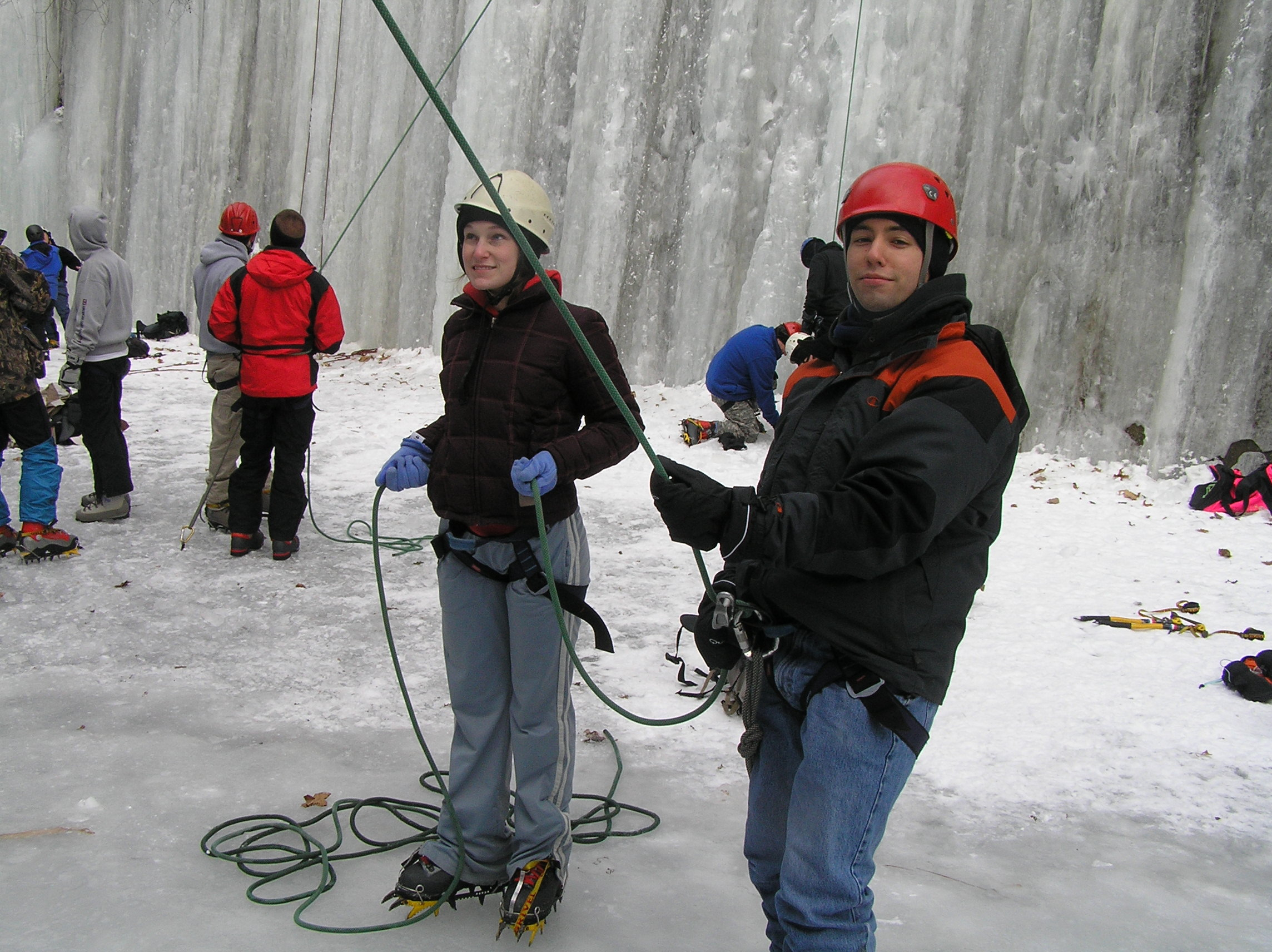 Umass Lowell students in the ice canyon