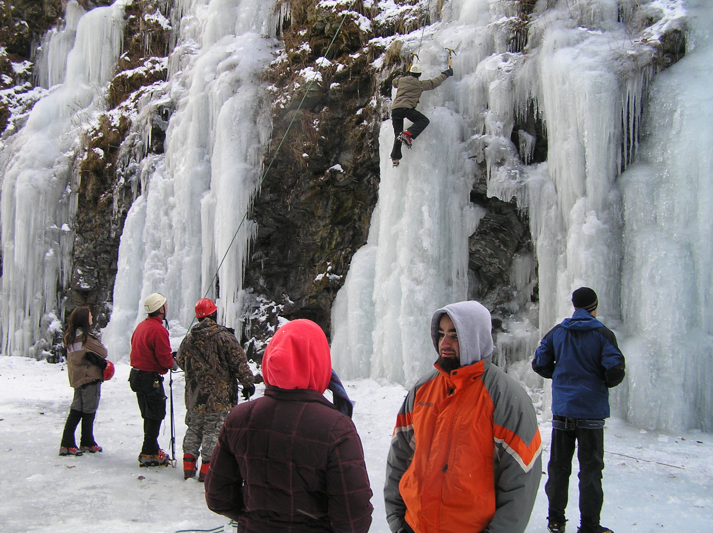 UMass Lowell students learning to ice climb