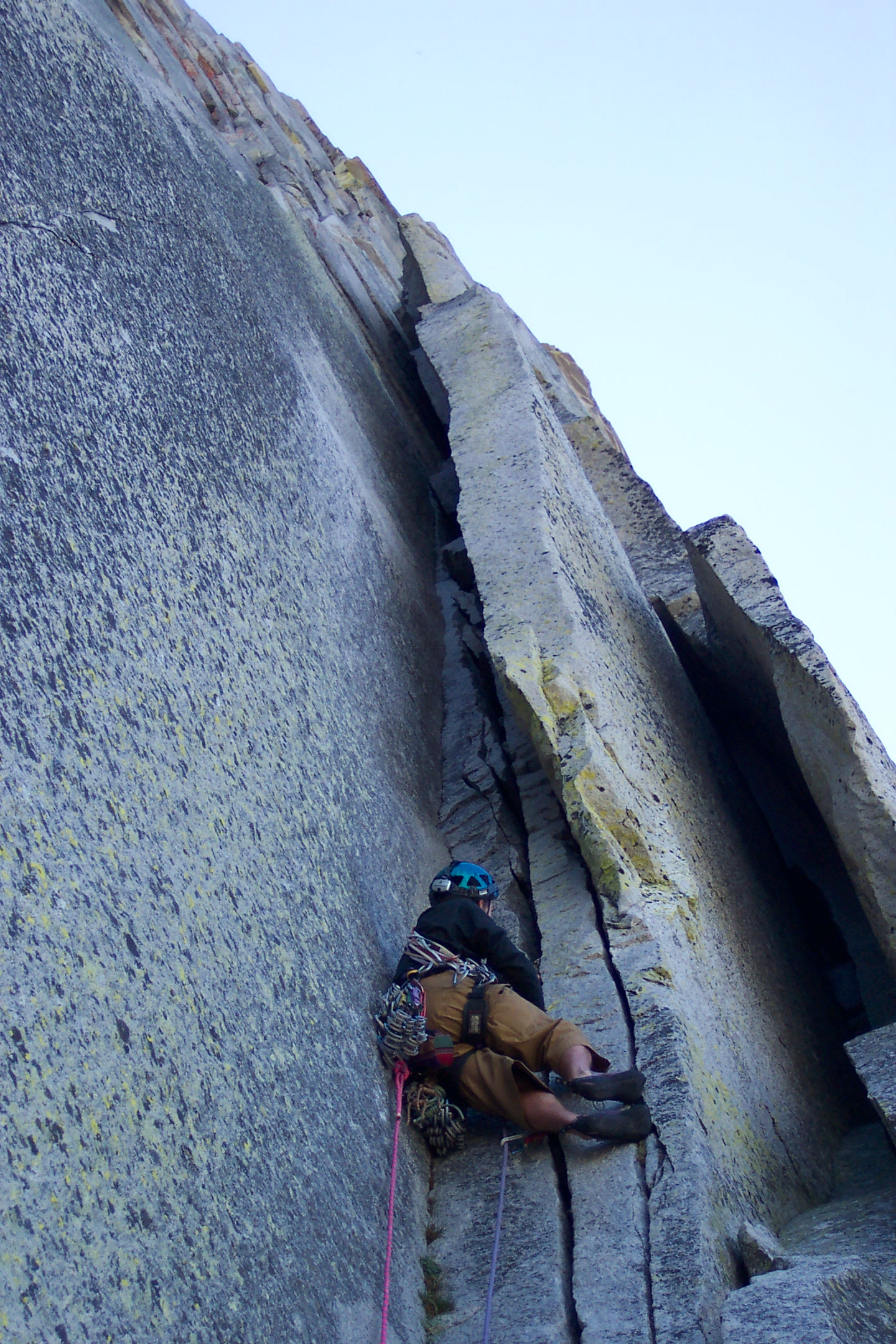 Mike getting into one of the chimneys on the Regular Route, Half Dome